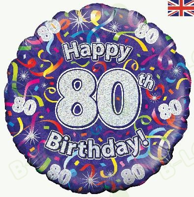 80th Birthday Streamers Holographic Helium Balloon Zoom