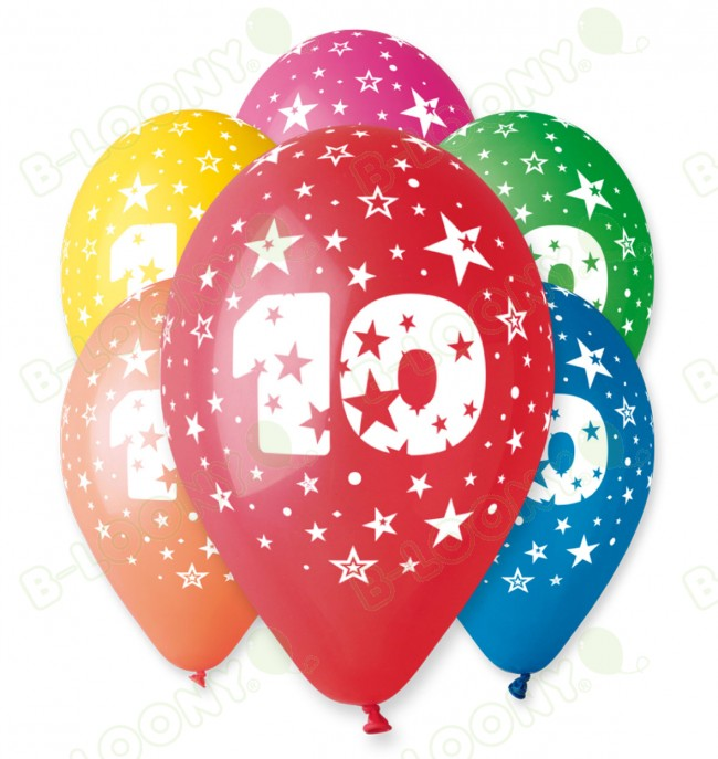 Pack Of Number 10 Birthday Balloons Assorted Colours