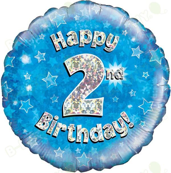 Happy 2nd Birthday Boys Helium Balloon