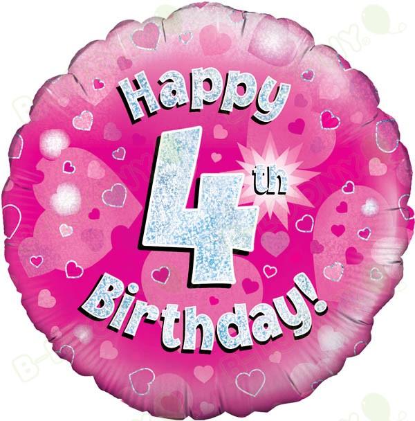 Happy 4th Birthday Girls Helium Balloon
