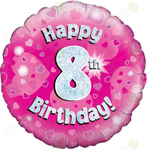 Happy 8th Birthday Girls Helium Balloon