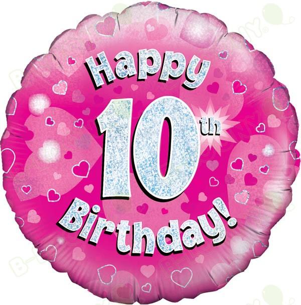 Happy 10th Birthday Girls' Helium Balloon