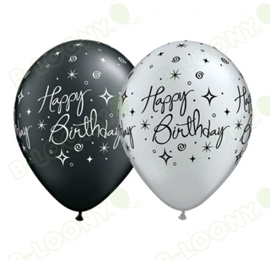 11 Elegant Sparkles Happy Birthday Balloons In Silver Black