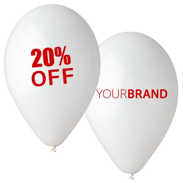 Percentage Off Printed Latex Balloons White