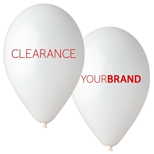 Clearance Printed Latex Balloons White