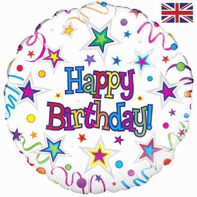 Happy Birthday Ribbons & Stars Helium Balloon