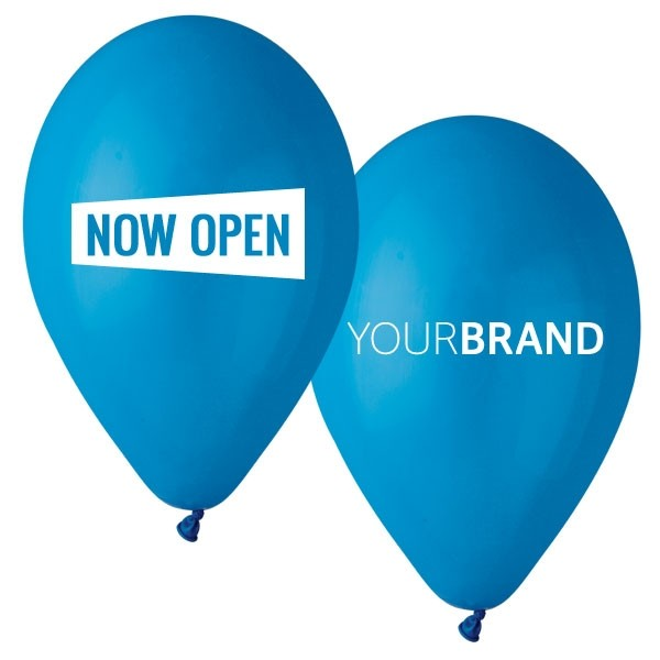 Now Open Printed Latex Balloons Blue