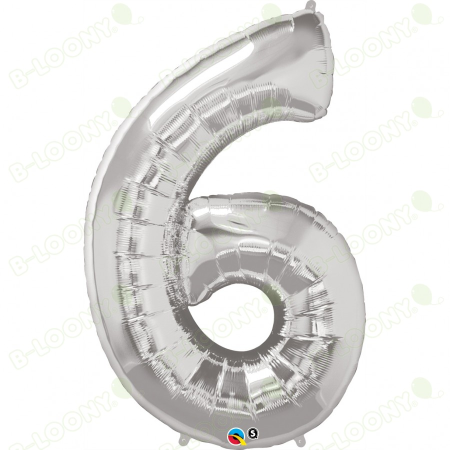 Giant Number 6 Foil Balloon Silver