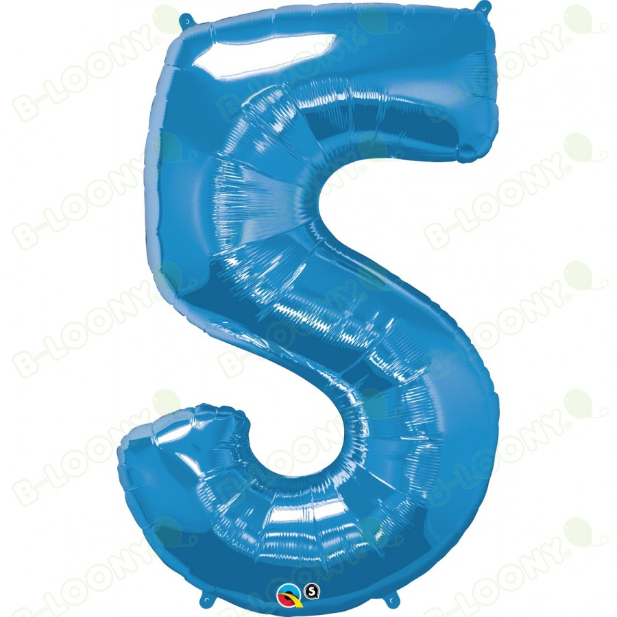 Giant Number 5 Foil Balloon Sapphire Blue