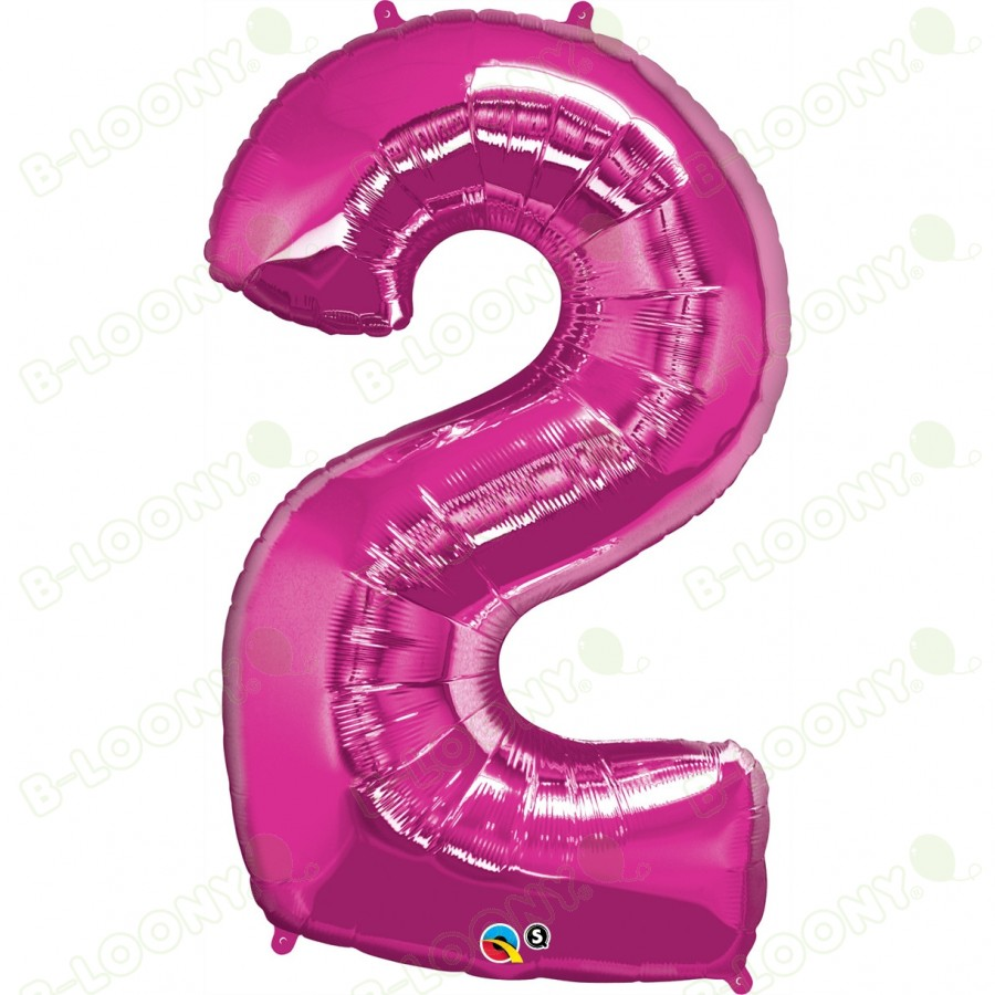 Giant Number 2 Foil Balloon Magenta