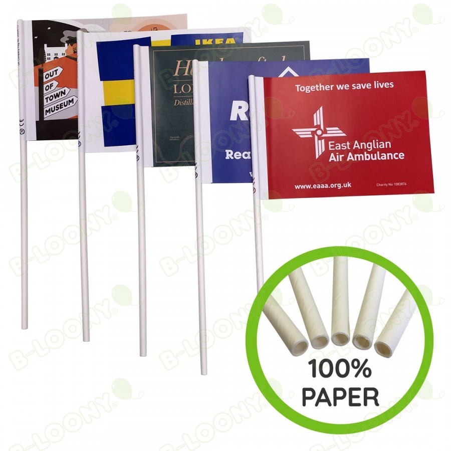 Paper Hand Waving Flags