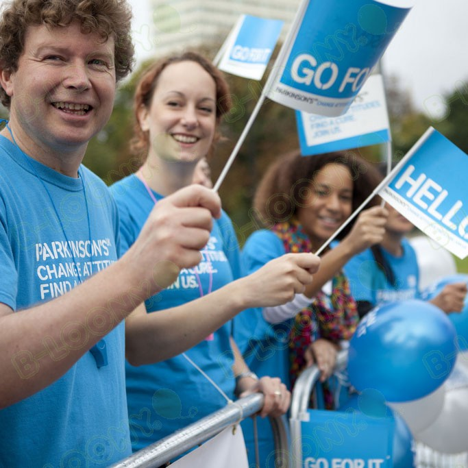 Printed Hand Waving Flags for Parkinson's UK
