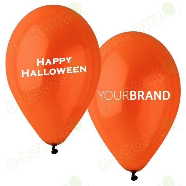 Happy Halloween Printed Latex Balloons Orange