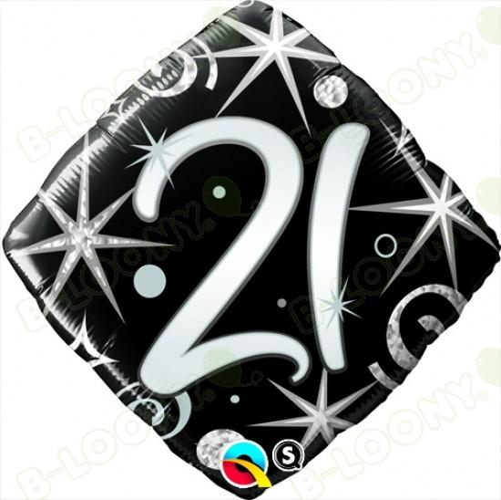 "Foil 18"" Elegant Sparkles & Swirls 21 Helium Balloon"