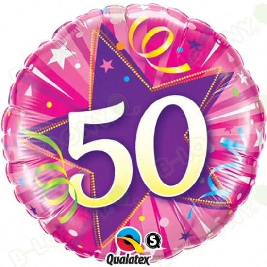 50th Birthday Or Anniversary Pink Helium Balloon 18 Foil Zoom