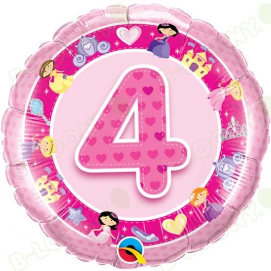 Girl's 4th Birthday Pink Princess Helium Balloon