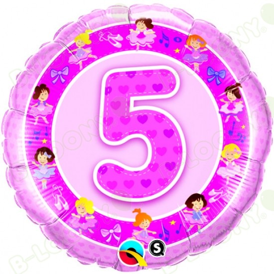 Girl's 5th Birthday Pink Ballerinas Helium Balloon