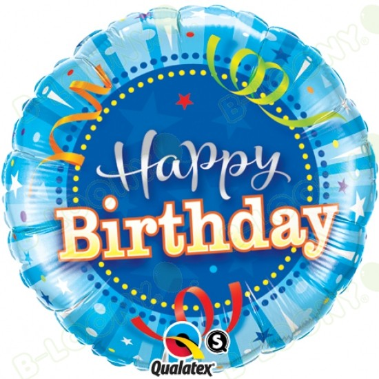 Foil 18 Happy Birthday Helium Balloon in Bright Blue