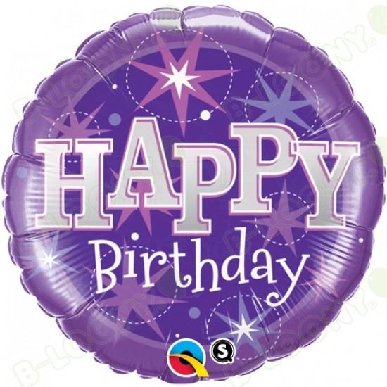 Happy Birthday Sparkle Purple Helium Balloon