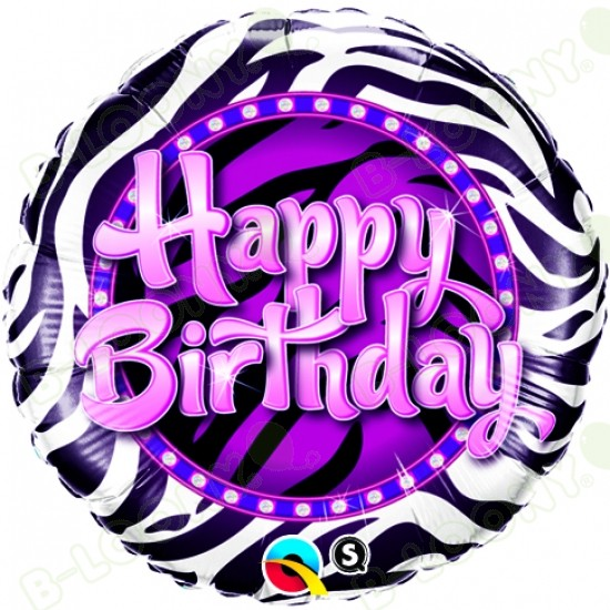 "18"" Happy Birthday Zebra Print Foil Helium Balloon"