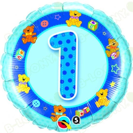 "Boy's 1st Birthday Blue Teddies Helium Balloon (18"" Foil)"