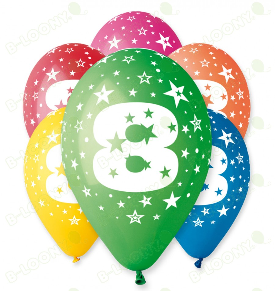"Number 8 Birthday Balloons in Assorted Colours 12"" (25 Pack)"