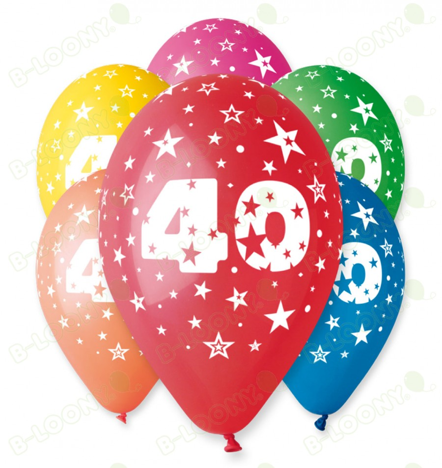 "Number 40 Birthday Balloons in Assorted Colours 12"" (25 Pack)"