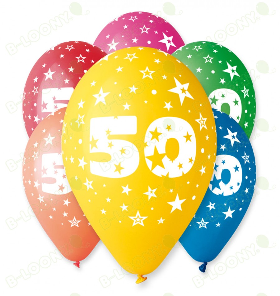 "Number 50 Birthday Balloons in Assorted Colours 12"" (25 Pack)"