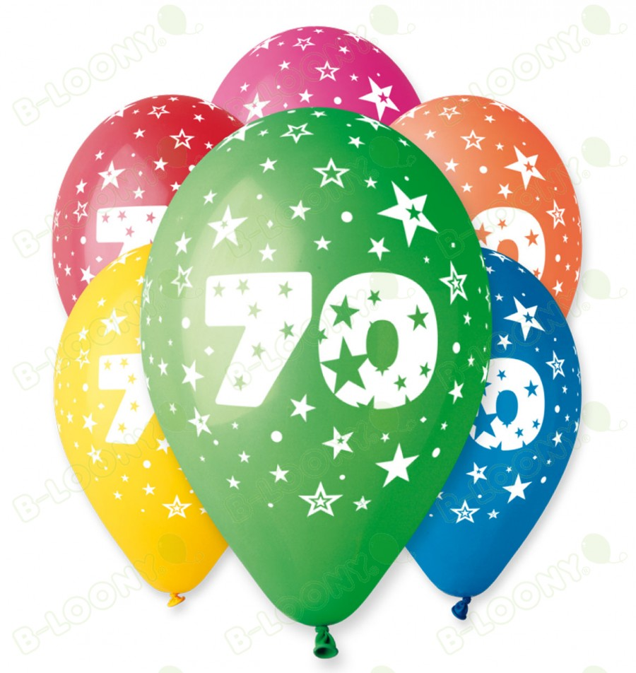 "Number 70 Birthday Balloons in Assorted Colours 12"" (25 Pack)"