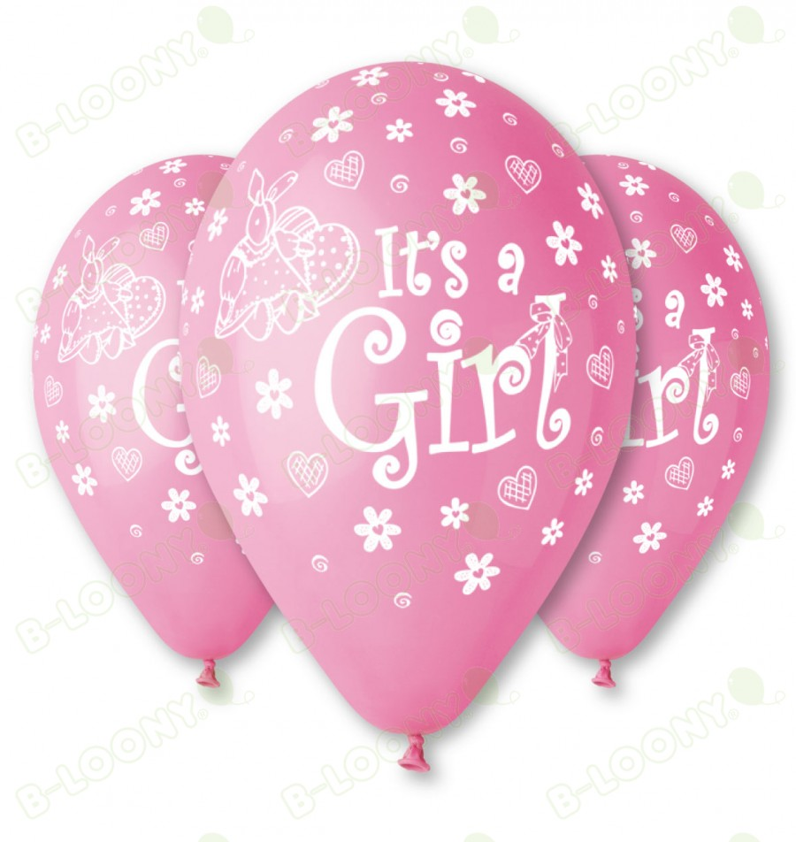 Pink It's a Girl Balloons