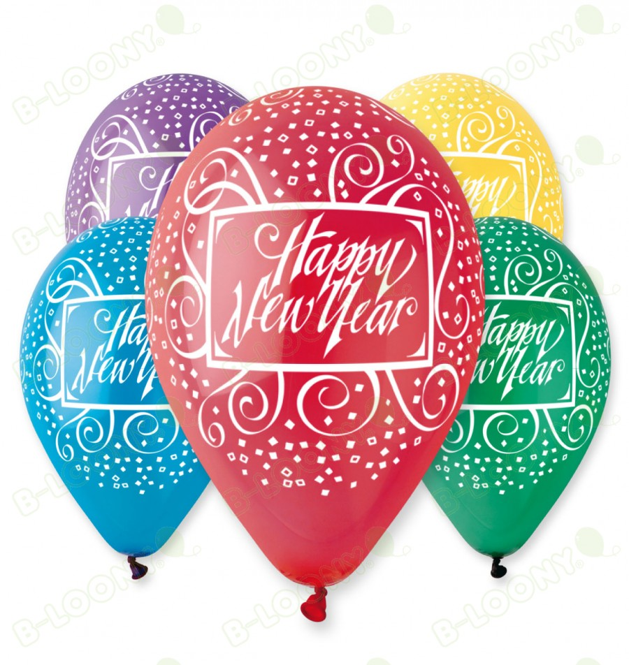 Pack Of Happy New Year Balloons Assorted Colours