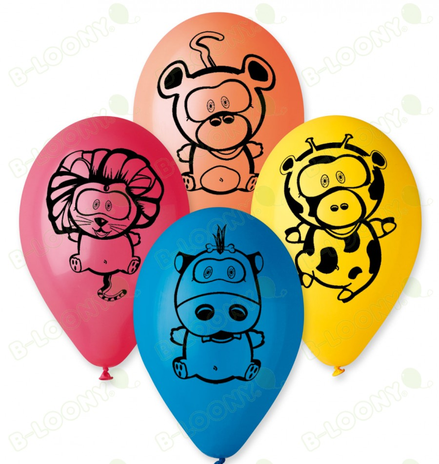 "Pack of 25 x 12"" Assorted Jungle Animal Design Balloons"
