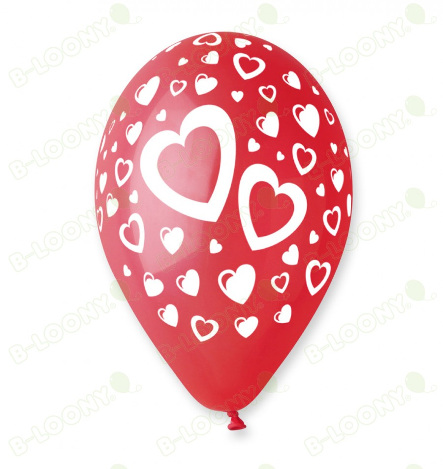 Red Heart Print Balloons