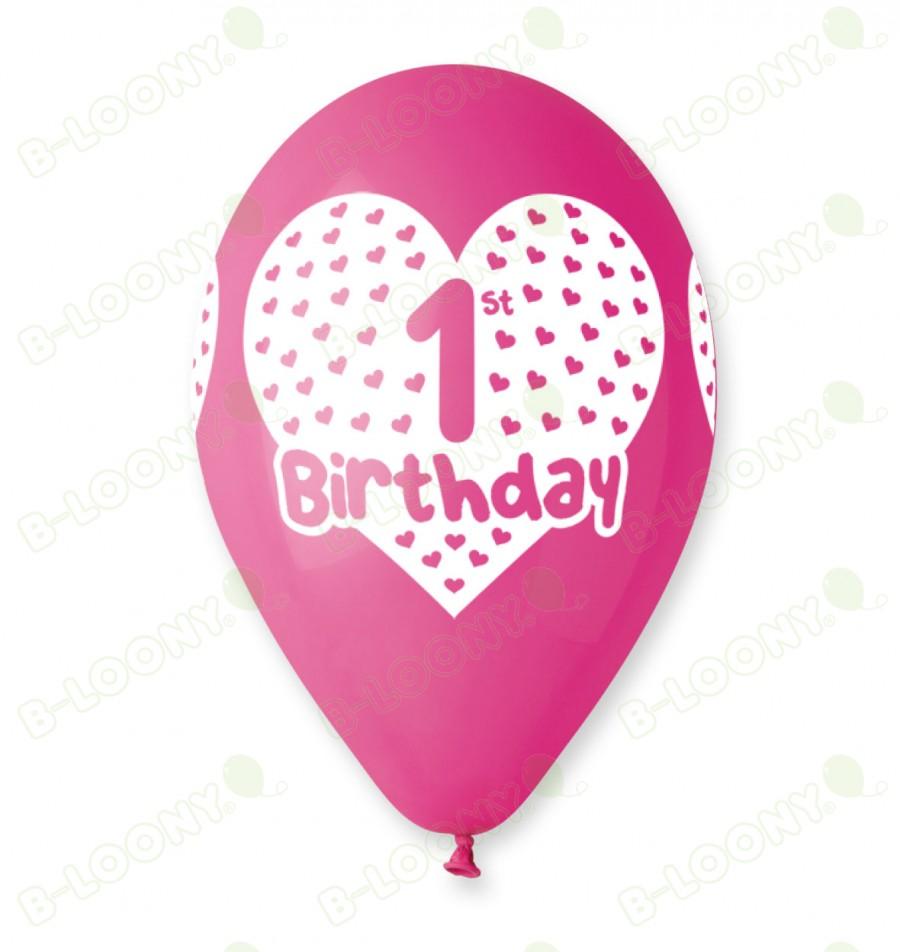 Fuchsia 1st Birthday Balloons