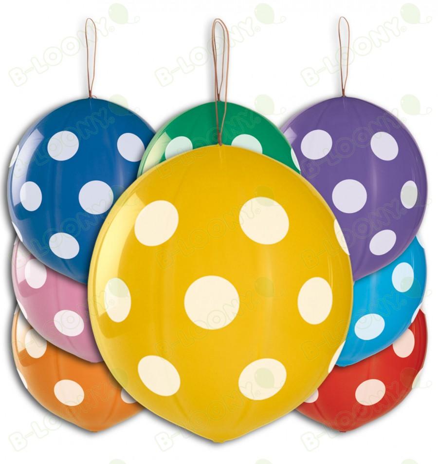 "10 x 18"" Polka Dot Punch Ball Balloons"