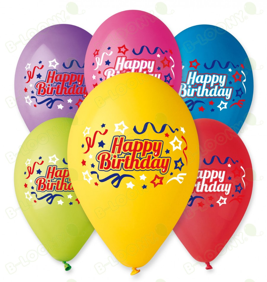 Happy Birthday Ribbons & Stars Multi-Colour Print