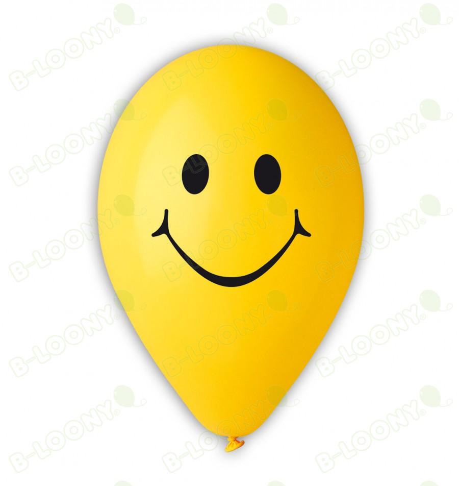 Yellow Smiley Face Print Balloons