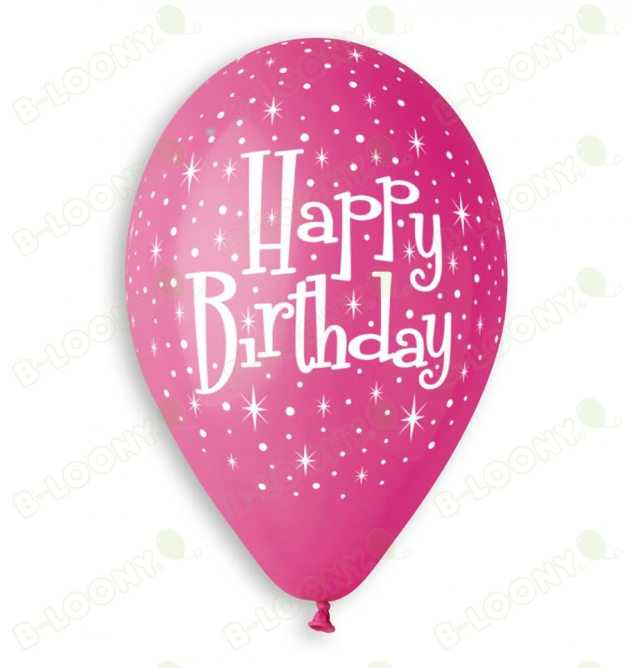 Pink Girl's Happy Birthday Balloons