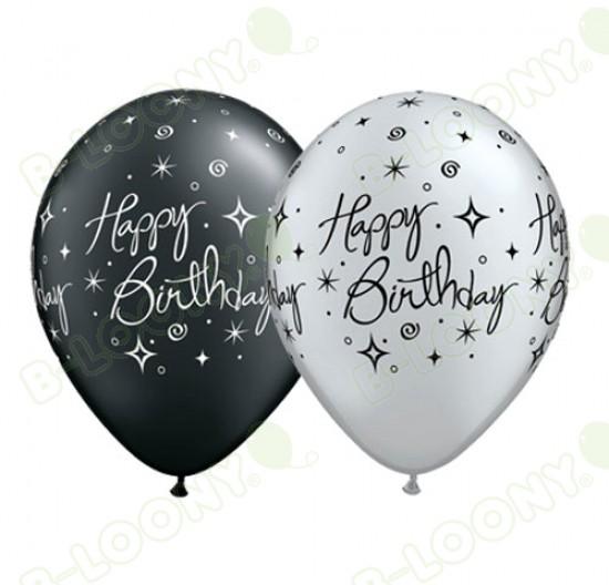 "11"" Elegant Sparkles Happy Birthday Balloons in Silver & Black"