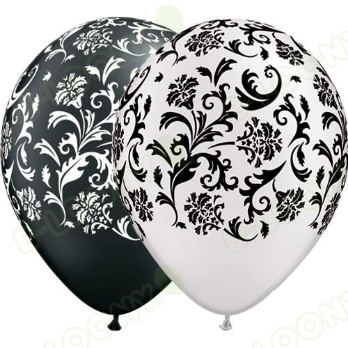 Black & White Damask Latex Balloons