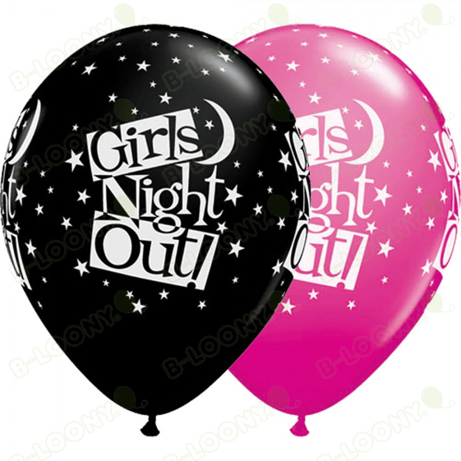 Girl's Night Out Latex Party Balloons in Black and Pink