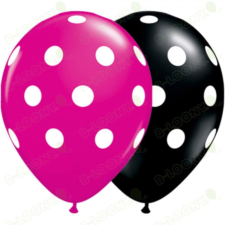 Big Polka Dots Latex Balloons Black & Magenta