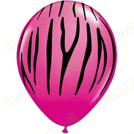 Wild Berry Pink & Black Zebra Striped Latex Balloons