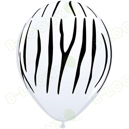 White & Black Zebra Striped Latex Balloons