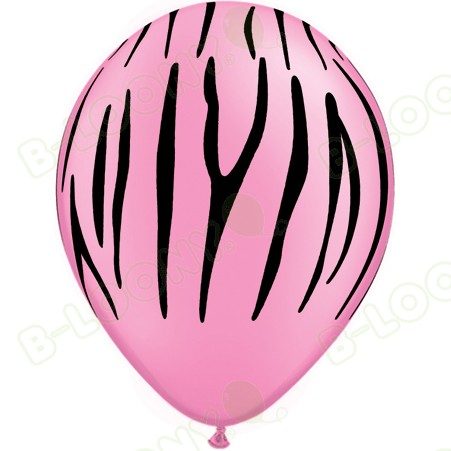 Neon Pink & Black Zebra Striped Latex Balloons