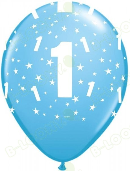 Blue Latex Age 1 Number Balloons Boy's Birthday
