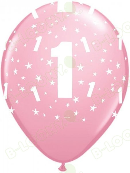 "11"" Pink Number 1 Latex Balloons for Birthday or Anniversary (6 Pack)"