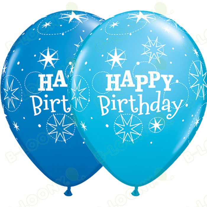 "11"" Sparkle Latex Birthday Balloons in Robin's Egg & Dark Blue"