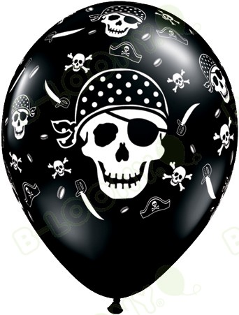 11 Inch Latex Balloons Pirate Skull & Cross Bones Black