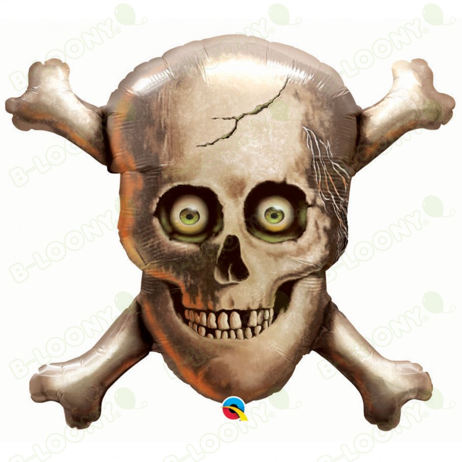 32 Inch Foil Balloon Skull & Cross Bones